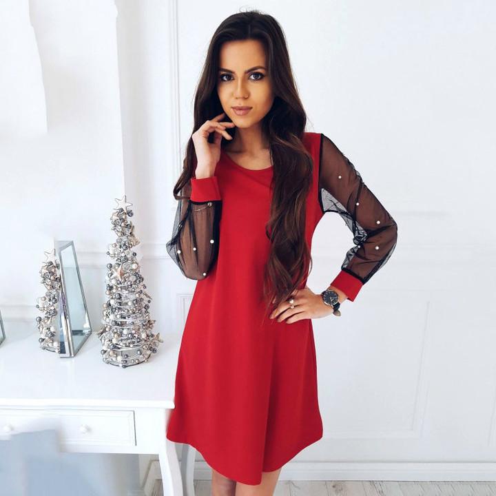 1ef293ff5cd79 New maternity skirt chiffon fashion sexy puff sleeves net yarn loose splice Pregnant  woman dress Red