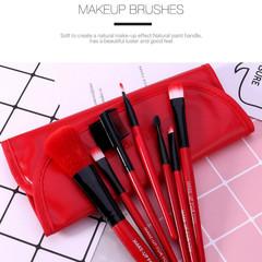 Makeup Brushes Soft Synthetic Hair Blush Eyeshadow Lips Make Up Brush (7 pcs a set) Red