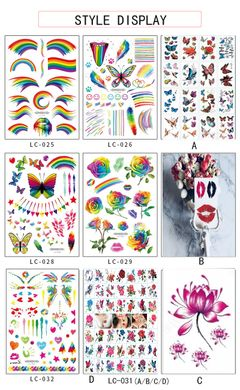 Fashion New Year Party Tattoo Sticker Rainbow Face Sticker Holiday Gift. LC-031 as picture