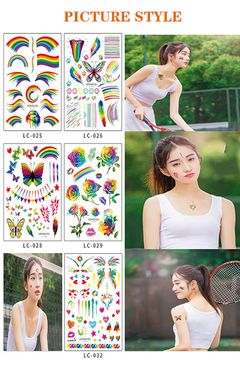 Fashion New Year Party Tattoo Sticker Rainbow Face Sticker Holiday Gift. LC-029 as picture