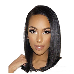 Fashion women's wigs short  bobo Black Wave Short Hair Straight Hair Medium Long Straight Hair black 14inch