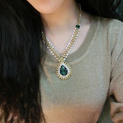 Women's Fashion Accessories Jewellery Retro Sapphire Pendant drill short Jewellery necklace Green size one