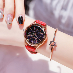 Women's Fashion Accessories Watches Lady  Genuine leather waterproof  Watch women Quartz watch red size one