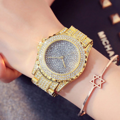 Women's Fashion Accessories Watches ladies Waterproof Watch quartzLarge dial with drill insert gold size one