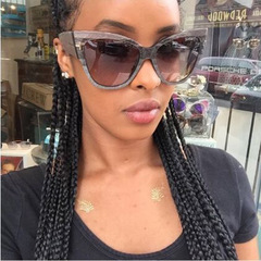 Cat's Eye Sunglasses women with Fashionable Personality Dajie Street Sunglasses ladies polarized Black Size one