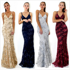 Women's sexy V collar strap, sequins dress dress.S-XL4Colors.grey/apricot/navy blue/wine red claret s