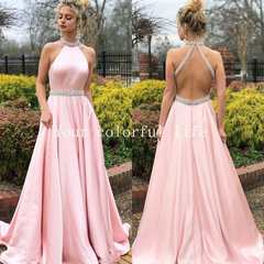 Sleeveless, pure color,neck-hung, back-exposed and diamond dress. Vermicelli soft big skirt.S-XL pink s