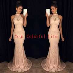 New dresses for women. Pink lace sleeveless Necklace dress sexy long skirt. Fishtail skirt.S-XL Pink m