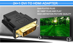 Favored One - 1 piece DVI 24+1 To HDMI Adapter Cable Plug Male To Female HDMI To DVI Cable Converter