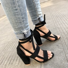 SOFT SHOES 34-43 cross banding High-heeled shoes Coarse heel Big size sandals Black 34