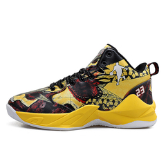 New color basketball shoes, wear-resistant and skid-resistant sports shoes, training shoes. yellow 43