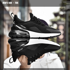 Big size 39-47,Fly-weave breathable sports leisure shoes, men's air-cushioned running shoes. Black and white 41