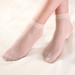 Caravan 2 Pairs Super Thin Women Short Crystal Stockings Lady New Fashion Socks Anti Hook Brown Elastic Telescopic