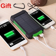 20000mAh Portable Outdoor Waterproof Polymer Universal Solar Power Bank for Mobile Phone Universal BLACK+RED 10000mAh