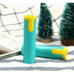 Mini Mobile Power Supply Small Cylindrical Single Section 2600 mAh Portable Charging Treasure yellow&green 2600mah