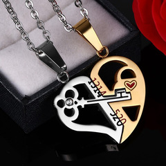 FAFT Creative A Pair Of  key Lock couple  necklace  Valentine Gift Prevent allergy No fade 001 one size