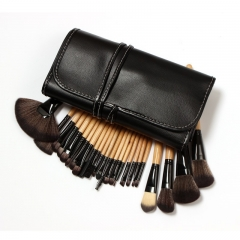 Professional 24pc/set black brushes wooden handle pincel maquiagem with bag leather case kit  M017 as the picture