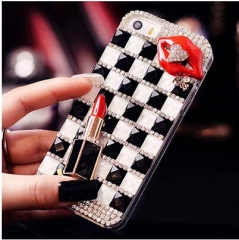 Luxury lipstick rhinestone phone case for iphone 4/4s/5/5c/5s/6/6s/6 plus/6s plus black for iphone 4