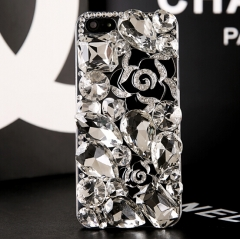 Glitter transparent clear rhinestone phone case for iphone for samsung white for iphone 4