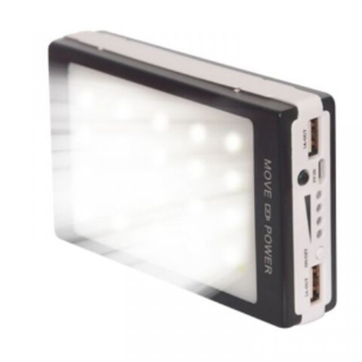 50000 mAh solar LED power bank hot selling black 50000