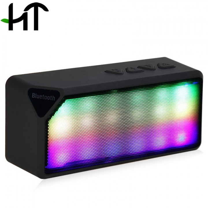 LED Light Wireless Bluetooth Speaker X3S with Built-in Microphone Support FM Radio for Smartphone black one size