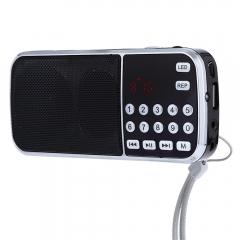 L - 088 Portable Digital Stereo Mini FM Radio Speaker Music Player with TF Card USB AUX Input Sound black one size