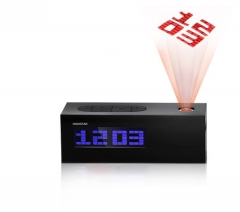 The projection clock radio students luminous alarm clock bedside electronic clock / snooze creative black one size