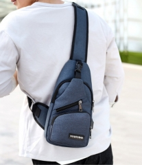 Canvas Chest Pouch Bag Man Cross body Sling Beg Men blue one size