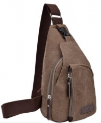 Canvas Chest Bag Man Cross body Sling Beg Men coffee small size