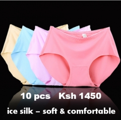 10 pcs / set Seamless Ice Silk Panties Underwear Lingerie 10PCS COLOR RANDOM M