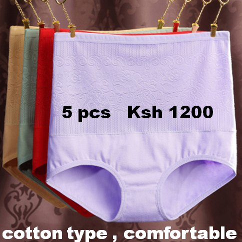 5pcs High Waist  Cotton Slimming  Panties Underwear Plus Size Lingerie 5pcs color random 2XL