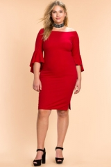 Women Plus Size Long Sleeve Blouse Shirt Dress Fashion red XL