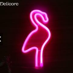 Battery Neon Lamp Holiday Light Flamingo Shaped LED Night rose 11.22inch 3w