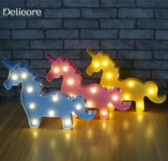 Cute 3D Unicorn Night Light Baby Plastic LED Lamp blue 11.22inch 3w