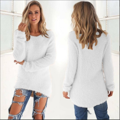 Fashion Women Sweater shirt winter autumn office lady casual white xl