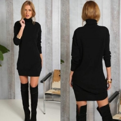Fashion Women Thick section dress winter autumn office lady casual black xl