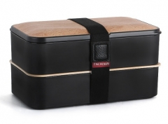 1000ml Cncrown double layers unch box can use in Microwave black 1200ml