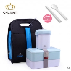 3pcs set Cncrown double layer lunch box can use in Microwave blue one size
