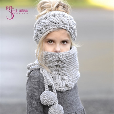 9af3a136014 Winter Warm Kids Children Baby scarf hat 2 pcs set Knitted hat girl ...