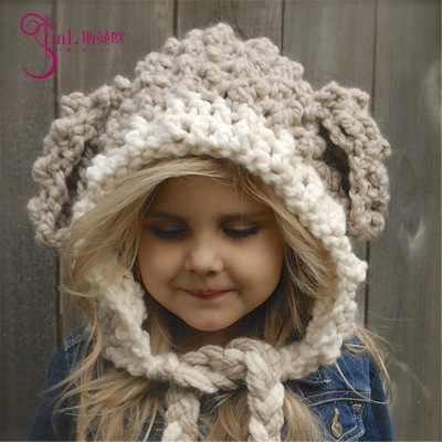 1a6aebf4ab9 Winter Warm Kids Children Baby scarf hat Knitted hat girl caps beige ...