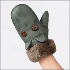 winter warm Thicken cotton gloves children kids  girls green free size