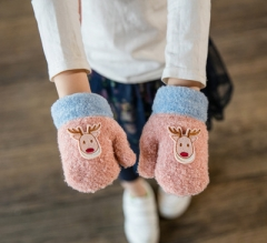 winter warm Thicken cotton gloves children kids  girls 1-3 years old pink free size