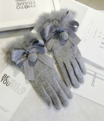 winter warm Thickening fashion elegant wool gloves women gray
