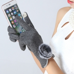 winter warm Thickening fashion elegant gloves women gray one size