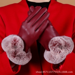 winter warm Thickening leather gloves gloves women girl