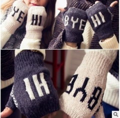 winter warm Knitted wool gloves girl boy couple 2pcs,dark gray