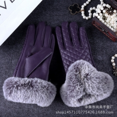 winter warm leather gloves women