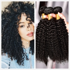 3 Bundles Curly Weave Peruvian Virgin Hair Kinky Curly Human Hair Extension 100g/pc black 18+18+18 inches