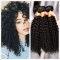 3 Bundles Curly Weave Peruvian Virgin Hair Kinky Curly Human Hair Extension 100g/pc black 18+18+18 inches