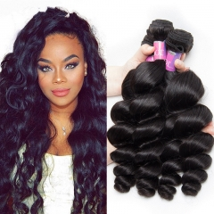 3 Bundles Weave Weft 100% Brazilian Virgin Human Loose wave hair Extensions 50g/pc black 8+8+8 inches